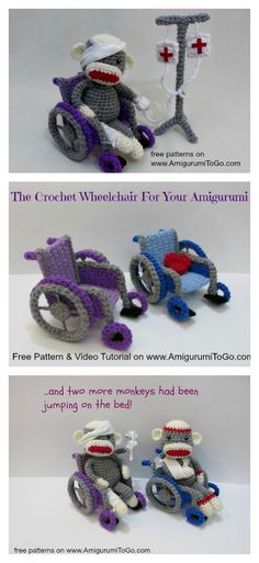 Crochet Amigurumi Wheelchair Free Pattern and Video Tutorial