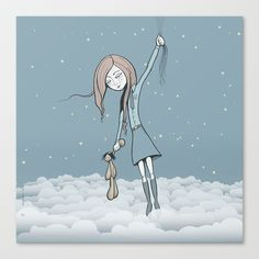 Butterfly Girl Stretched Canvas by Lindha - $85.00