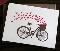 Vintage bike and hearts...could be easily made using a vintage bike image and several hearts cut with my Cricut Explore.