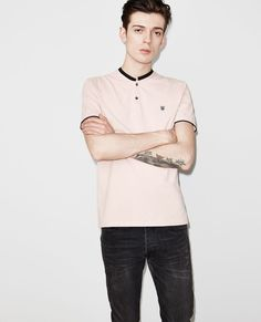 Polo shirt with a stand-up collar with contrasting rib trimming * - T Shirts & Polos - Men - The Kooples