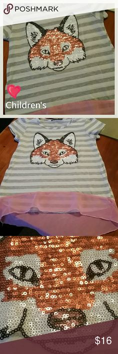 Just Reduced!  *Kids! Girl's Foxy Sequin Blouse- Girls gray Tshirt Blouse w/ pink Flowy extension of fabric at the bottom. The Fox's face is so darn cute!! I cut the tags and can't remember who made it. Children's Place? I think. It's so adorable, and we'll made. Sequins are accounted for. The only thing that's considered anything is there's a little pilling on the belly. It could be removed rather easily. I would but I'm a clutz. I'll ruin it. Haha! blousy_ness to the shoulders via small…