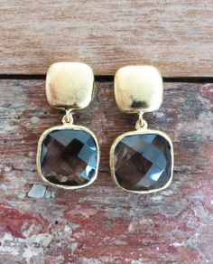 'Johanna' 18K Gold Plated Earrings: Smoky Quartz. www.eight5two.com