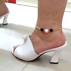 estilo europeo 2 tonos perla de imitación para el tobillo