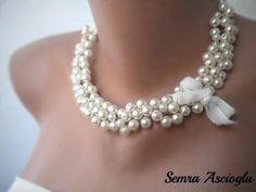 Handmade Weddings Pearl Necklace brides by HMbySemraAscioglu, $40.00