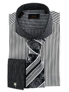 Steven Land Black Striped French Cuff Dress Shirt DS1224