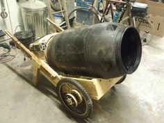 Check out this DIY cement mixer made from all recycled parts. Wheels are included so you can easily wheel around cement for your next project.