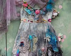 The rose and edelweiss dress - fairytale inspired, bohemian romantic, altered couture,