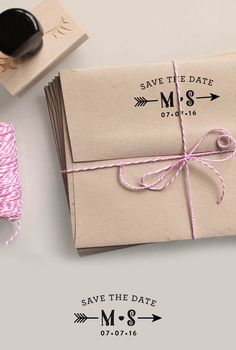 Custom Monogram Save the Date Rubber Stamp with initial, Date and a heart and an arrow return address stamping and customized gift for holidays, housewarming and weddings