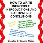 Common Core requires that when writing informational texts students know how to introduce a topic and how to write a concluding statement that supports the information presented in the writing. This handout is useful as a mini-lesson for students about how to open and close their essays. It outlines 7 ways for students to write introductions that grab the reader's attention and 5 ways for them to write conclusions without resorting to tired and boring methods.
