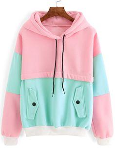Color Block Drawstring Hooded Sweatshirt — 0.00 € ---------------color: Green size: L,M,S,XL