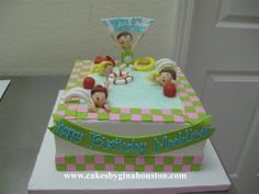 Pool party cake idea Pool Party Cakes, Pool Cake, 8th Birthday, 2nd Birthday Parties, Birthday Ideas, Swimming Cake, Diy Party, Party Ideas, Lego Friends Party