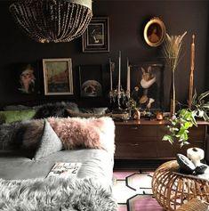 Jaz's dark bedroom interior with fir cushions and chandelier Interior Design Instagram, Home Interior Design, Asian Interior, Modern Interior, Stylish Bedroom, Modern Bedroom, Dark Cozy Bedroom, Dark Bedrooms, Eclectic Bedrooms