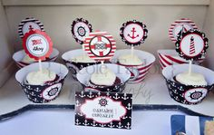 Nautical Birthday Party Ideas | Nautical+Party+printable+supplies+partyware+party+ideas+4th+july+red ...