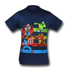 Marvel Retro Heroes Striped 30 Single T-Shirt