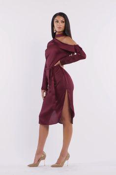 satin shirt dress in burgundy - Vestidos - Satin Dresses, Sexy Dresses, Short Dresses, Fashion Dresses, Night Outfits, Dress Outfits, Satin Shirt, Frack, Fashion Videos