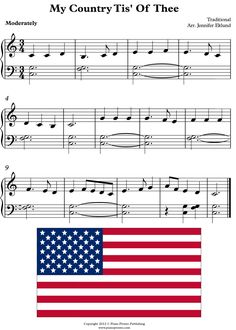 My Country Tis of Thee for easy piano. Two hands, C position, eighth note pairs dotted quarters by Jennifer Eklund