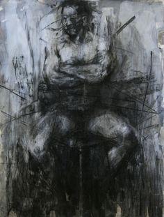 tylerdgraffam: Tyler Graffam, untitled figure drawing charcoal, chalk and gesso on paper, 40x50