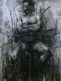 tylerdgraffam: Tyler Graffam, untitled figure drawing charcoal, chalk and gesso on paper, 40x50