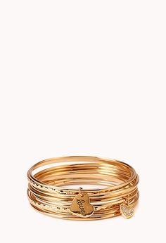 Queen Of Hearts Bangle Set | FOREVER21 - 1000070777