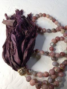 Aventurine long necklace with sari silk ribbon tassel | by Donetta's Beaded Treasures