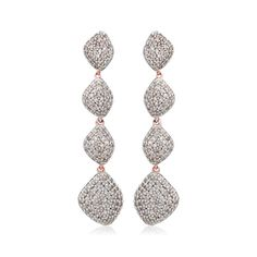 Rose Gold Vermeil Nura Teardrop Long Cocktail Earrings - Diamond - Monica Vinader