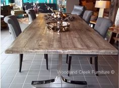 Modern Reclaimed Wood Table by Woodland Creek Furniture in Custom Sizes & Finishes.