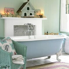 Love how these colors blend...Bathtub Ideas -Boat Bathtubs, Tubs with Stencils, Painted and more