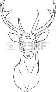 Tete de cerf cerf main dessiner isol sur arri re plan idee motifs terre cuites - Dessiner un cerf ...