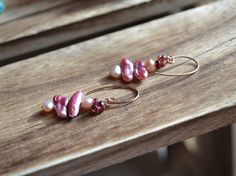 Biwa pearl and garnet dangle earrings on rose gold by OneZenFlower