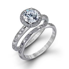 Love these unique #engagement and #wedding rings! {Simon G}
