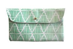 Wallet Pouch- White Leather with Green Ombre Pyramids
