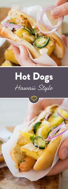 ib gegrillte Ananas und Teriyaki Mayo zu deinem Hot Dog, garniere das ganze mit roten Zwiebeln, Koriander und Jalapeños und genieße Südseefeeling