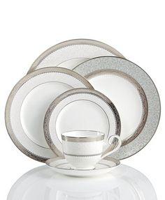 Noritake Dinnerware, Odessa Platinum Collection from Macy's Fine China Dinnerware, Dinnerware Sets, China Sets, Noritake, Dinner Sets, China Patterns, Bone China, Tableware, Serveware