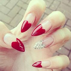 Fearless Stiletto Nail Art Designs, Stiletto nails are oval shaped nails that are more pointed than rounded at the tip, and are usually very long. They have been recently highlighted in . Heart Nail Art, Heart Nails, Red Nail Art, Pink Nails, Blue Nail, Jewel Nails, Cute Nails, Pretty Nails, Nail Art Design 2017