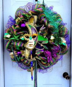 Mardi Gras is coming! Celebrate and make your home the talk of the neighborhood with HUGE amazing Mardi Gras wreath! This wreath is made out of
