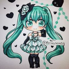 Chibi of Miku Hatsune! I love this outfit for her ^^ Which is your favourite vocaloid? #copic #copicart #copicmarker #fanart #traditionalart #instagramartist #chibi #chibiart #miku #mikuhatsune #hatsunemiku #vocaloid #kawaii #anime #manga