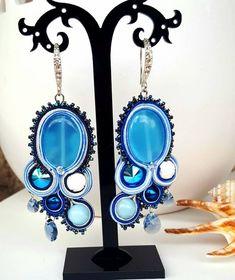 Soutache earrings Boho earrings Swarovski crystal Opal Crystal earrings Drop Gift for her Blue earrings Valentine's gift Aquamarine Pearls Aquamarine Earrings, Soutache Earrings, Swarovski Crystal Earrings, Blue Earrings, Bridal Earrings, Gemstone Earrings, Dangle Earrings, Mother Pearl, Beautiful Earrings
