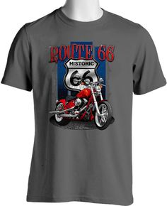 Men's Clothing V TWIN LEGEND ROUTE 66 BIKER T SHIRT EAGLE  M TO 6XL BLACK OR GRAY