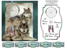 Wolf Dream Catcher Topper with Insert on Craftsuprint designed by Barbara Hiebert - This is a pair of wolfs with a dream catcher and a matching insert and verse,The sentiment tags say,CongratulationsJust For YouWith LoveBest WishesOn Your Special Day - Now available for download!