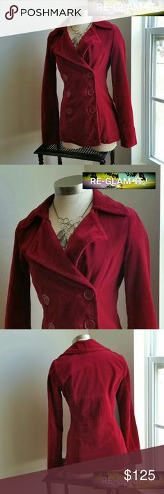 .JUICY COUTURE ....STUNNING VINTAGE PEA COAT ...EXCELLENT CONDITION  ...NORMAL WEAR.. ....NO FLAWS  ....STUNNING  ....A MUST HAVEEEEE ....AUTHENTIC JUICY COUTURE  ...VINTAGE BEAUTY  ....GUARANTEED  ....true to its size and color ....color... red burgundy  ....gorgeous color. ....2 pic up close ....pea coat style ....button down front  ....deco logo ...throughout inside ....comfortable  ....loose feel  ....LENGTH. .adding soon ....MTRL. ..adding soon ....DRY CLEAN ONLY  ....Better in person…
