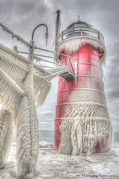 Frozen Lighthouse, Cleveland, Ohio