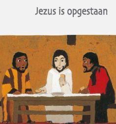 'Jezus is opgestaan', het paasverhaal uit de christelijke bijbel verteld voor kleuters, met illustraties van Kees de Kort.