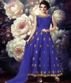 Buy Blue Banarasi Silk Readymade Ankle Length Anarkali Suit 73099 online at lowest price from huge collection of salwar kameez at Indianclothstore.com.                                                                                                                                                     More
