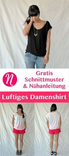 Gratis Schnittmuster für Damenshirt mit tiefem Ausschnitt. PDF-Schnittmuster Größe S, M, L. Nähtalente.de - Magazin für kostenlose Schnittmuster