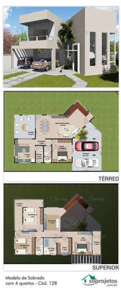 This modern townhouse is ideal for those who want a large and sophisticated home. Dream House Plans, Modern House Plans, Small House Plans, House Floor Plans, My Dream Home, Layouts Casa, House Layouts, Architectural Design House Plans, Architecture Design