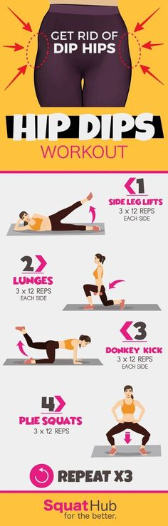 Hip Dips Workout To Get Rid Of Violin Hips - Sport interests Dip Workout, Gym Workouts, At Home Workouts, Fitness Exercises, Workout Exercises, Workout Routines, Exercise To Reduce Hips, Hip Dip Exercise, Plie Squats