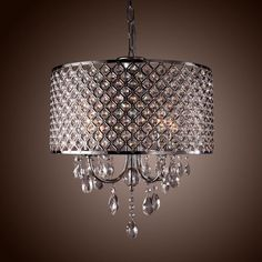 Drum Crystal chandelier Modern 4 Lights Shade pendant lamp Living/Dining/Bedroom