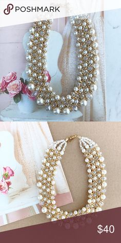 Beautiful Pearl Necklace. Beautiful handmade pearl necklace.  Bib style necklace. hwl boutique Jewelry Necklaces