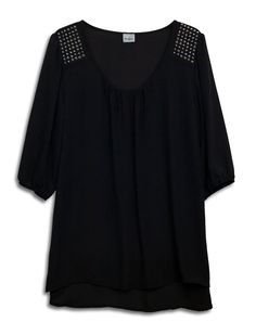 eVogues Plus Size Studded Shoulder Chiffon Top Black - 1X