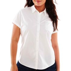Plus Size Arizona Short-Sleeve Button-Front Uniform Shirt White (26 CAD) ❤ liked on Polyvore featuring plus size women's fashion, plus size clothing, plus size tops, plus size, white short sleeve top, plus size white tops, uniform shirts, button front tops and white uniform shirts